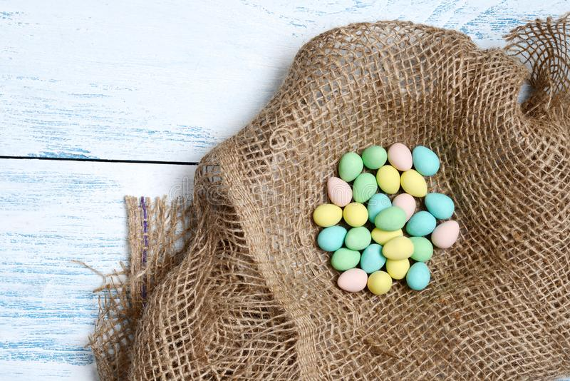 Top view easter eggs in a nest royalty free stock photography