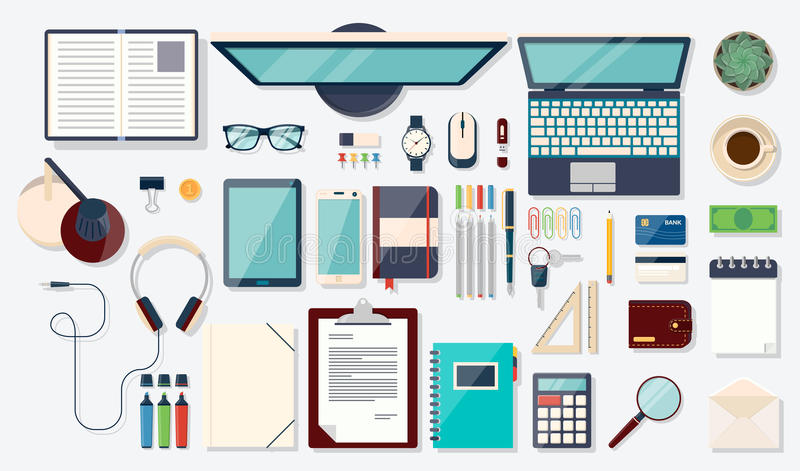 Top view elements. Desk background with laptop stock illustration