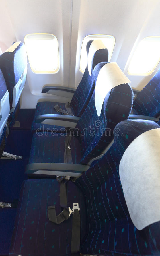 Top view of empty airplane seats royalty free stock photos