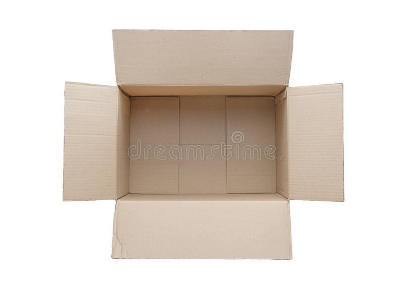 Top view of empty cardboard box isolated on White Background royalty free stock image