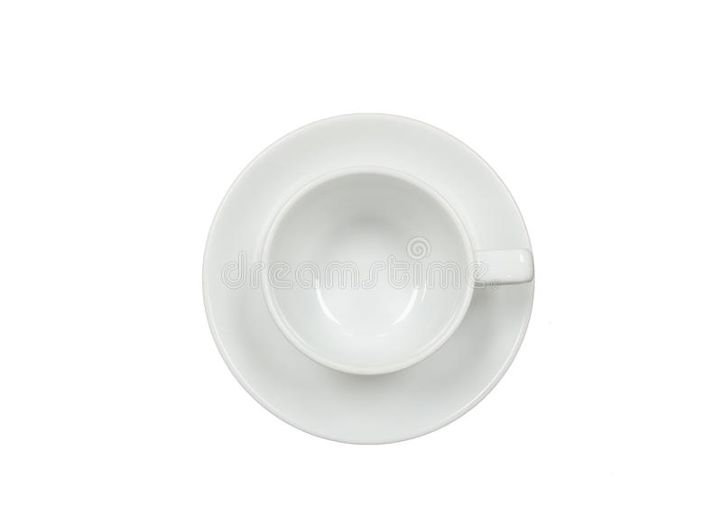 Empty Cup Top : Top view of empty coffee cup on white background stock