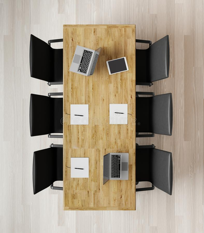 Top view of empty meeting room with chairs, wooden table, notebooks and laptops. 3d rendering royalty free illustration