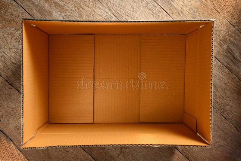 Top view of empty open cardboard box stock photo