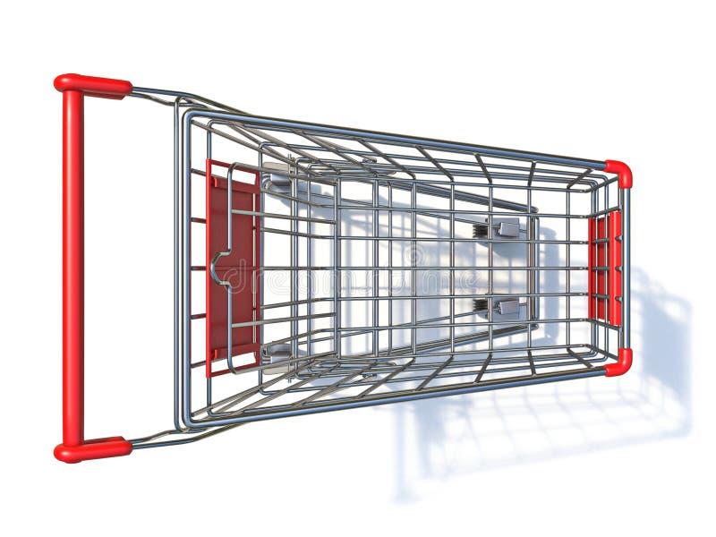 Top view of empty shopping cart 3D stock photos