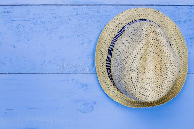 Top view essential travel items on blue wooden background.Free s stock images