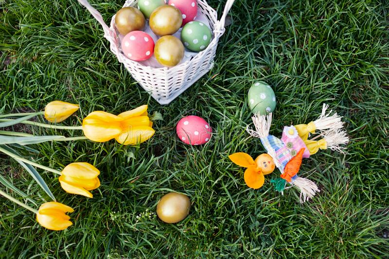 Top view of ester eggs  on grass stock photography