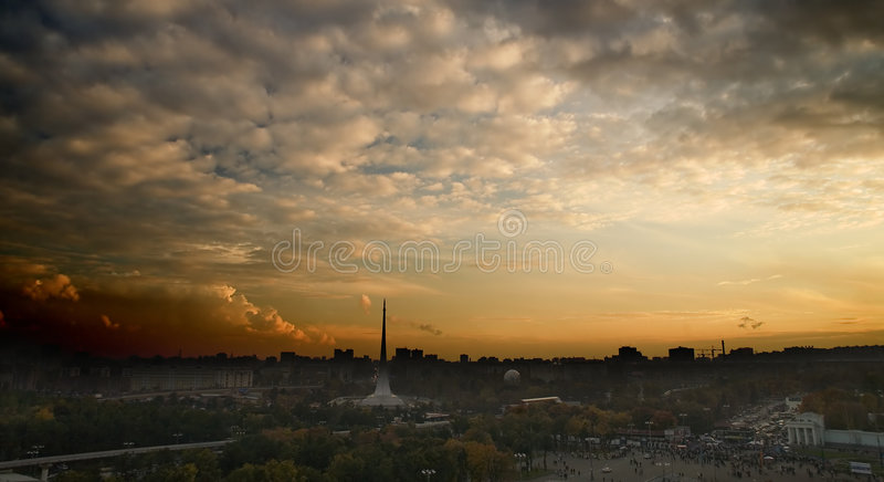 Download The Top View On Evening City Royalty Free Stock Photos - Image: 1412318