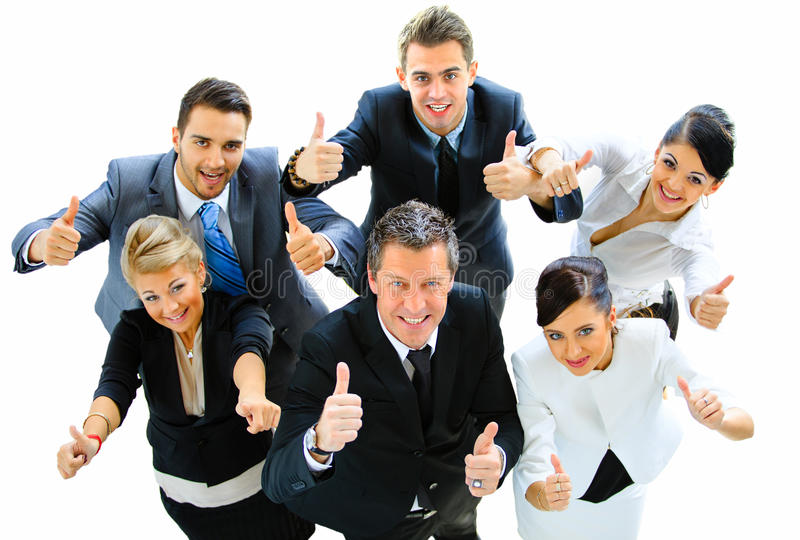 Top view of executives smiling stock images