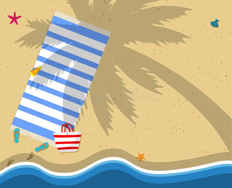 Top View of Exotic Empty Sandy Beach Background royalty free illustration