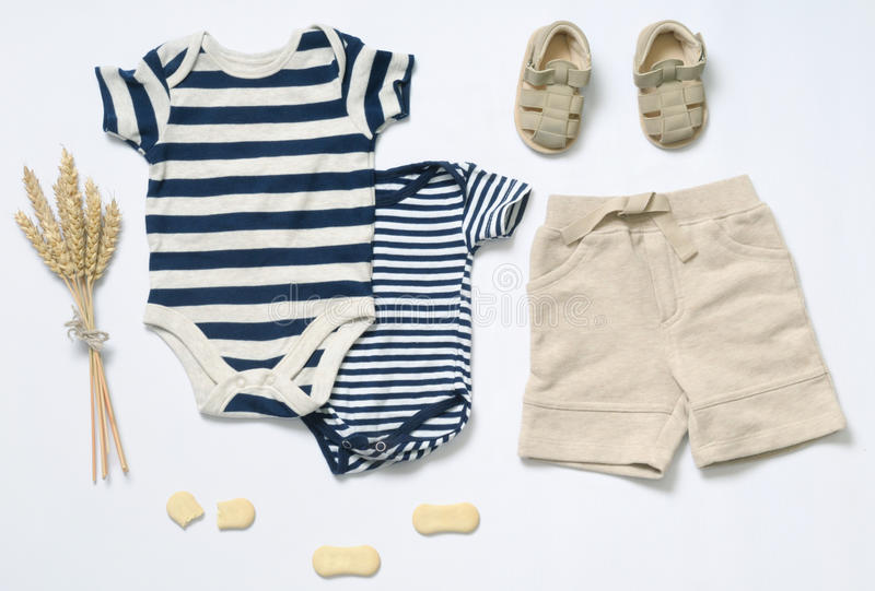 Top View Fashion Trendy Look Of Baby Boy Clothes Stock Photo Image