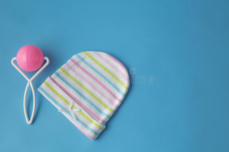 Top view fashion trendy look of baby clothes. Baby fashion concept stock photo