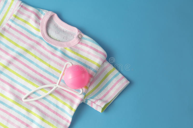 Top view fashion trendy look of baby clothes. Baby fashion concept royalty free stock photo
