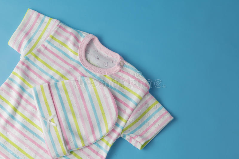 Top view fashion trendy look of baby clothes. Baby fashion concept stock photography