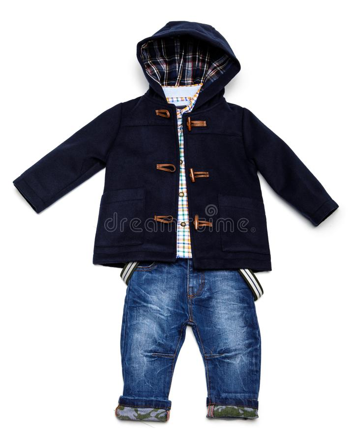 Top view fashion trendy look of kids clothes. Kids fashion royalty free stock photo