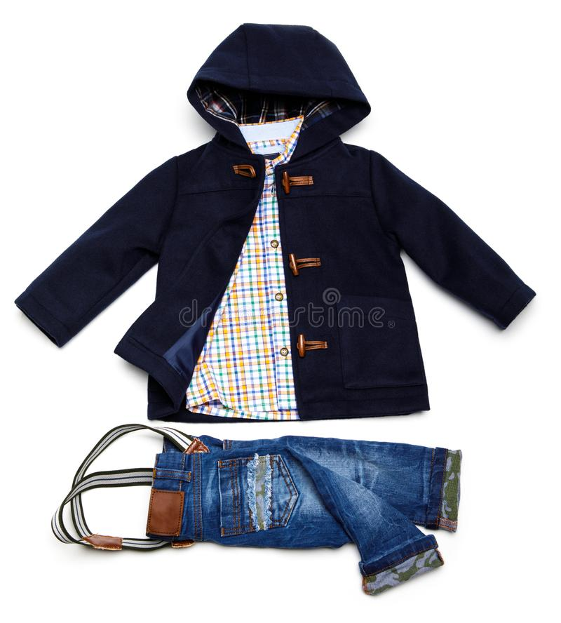 Top view fashion trendy look of kids clothes. Kids fashion royalty free stock photography