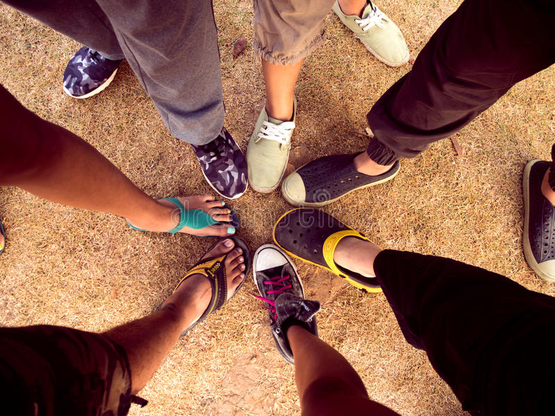 Top view of feet of people standing royalty free stock photos
