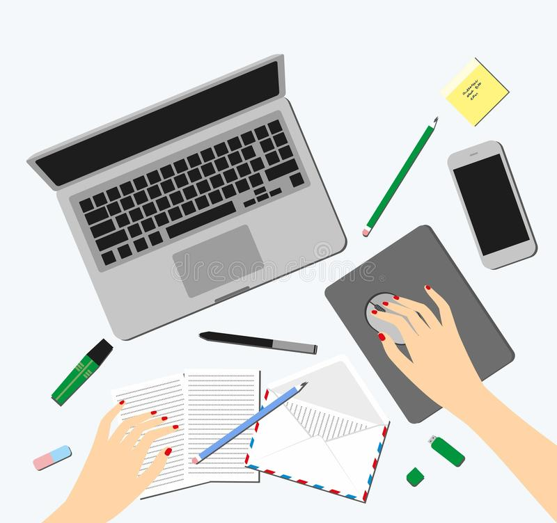 Top view of female hands, desk, laptop screen, illustration. Women in the workplace. Top view of female hands, desk, laptop screen, illustration royalty free illustration