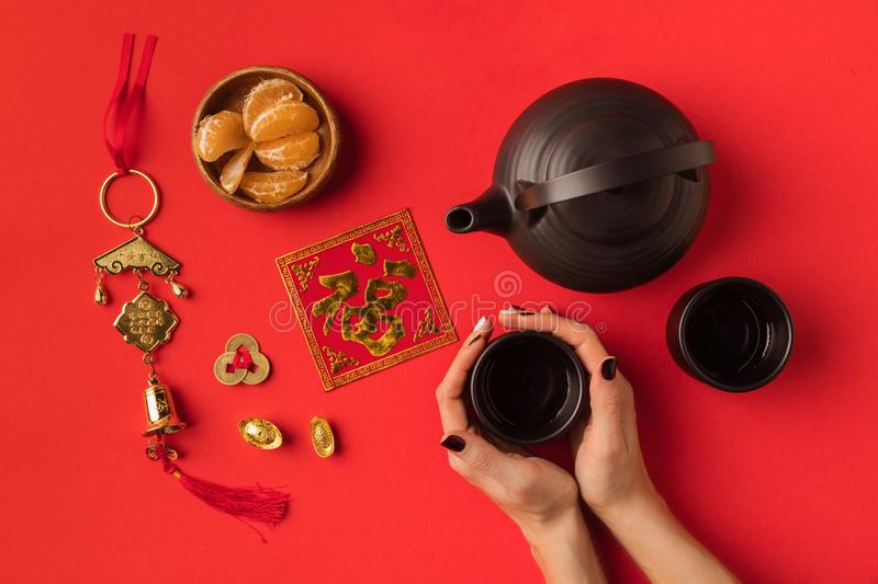 Oriental decorations and tea set stock image