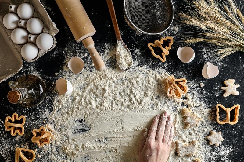 Top view female hands prepares a place for cooking dough stock images
