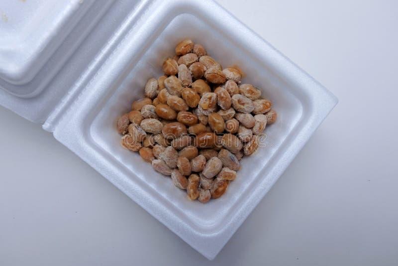 Japanese fermented soybean in foam box royalty free stock image