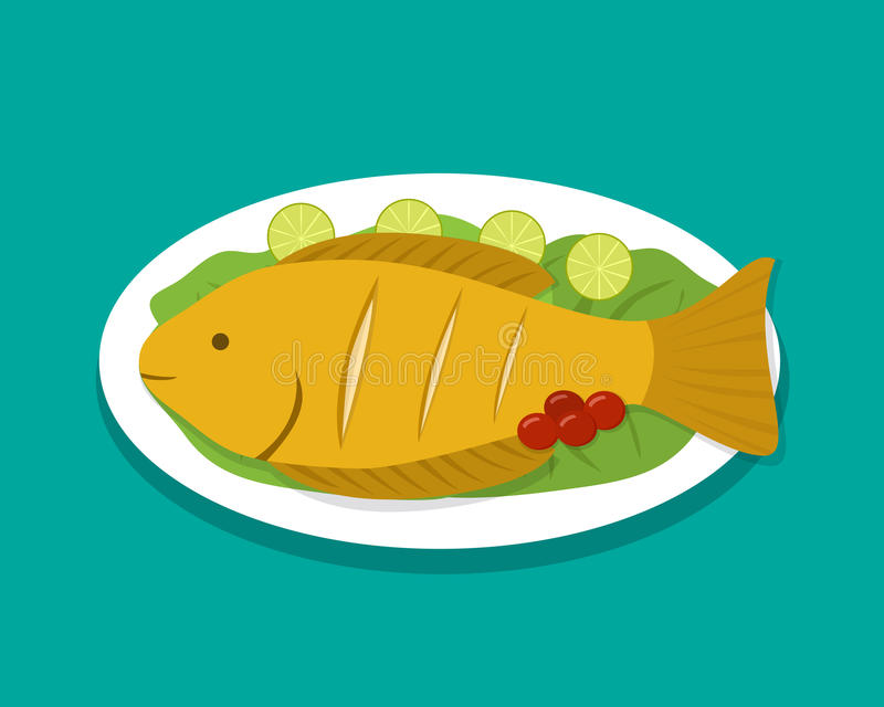 Top view fish fry on white plate, vector. Food vector illustration