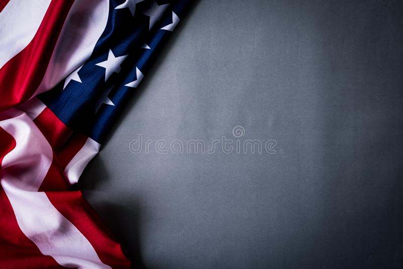 Top view of Flag of the United States of America on gray background.  Independence Day USA, Memorial.  stock photos