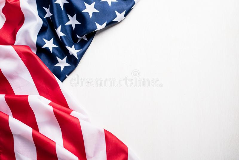 Top view of Flag of the United States of America on white background.  Independence Day USA, Memorial stock images