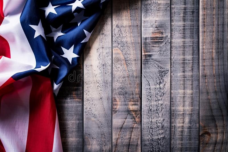 Top view of Flag of the United States of America on wooden background.  Independence Day USA, Memorial.  stock image