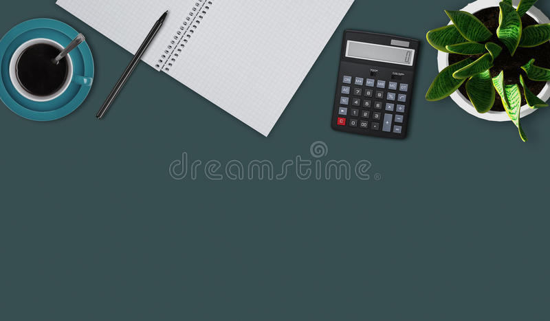 Top view of flat lay picture with blank notebook, pen, cup of coffee or tea, calculator and flower. Office desktop of accountant. stock illustration