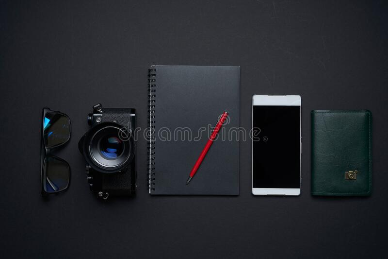Top view and flat lay of the table art creative graphic designer. Black and white still life concept royalty free stock photography