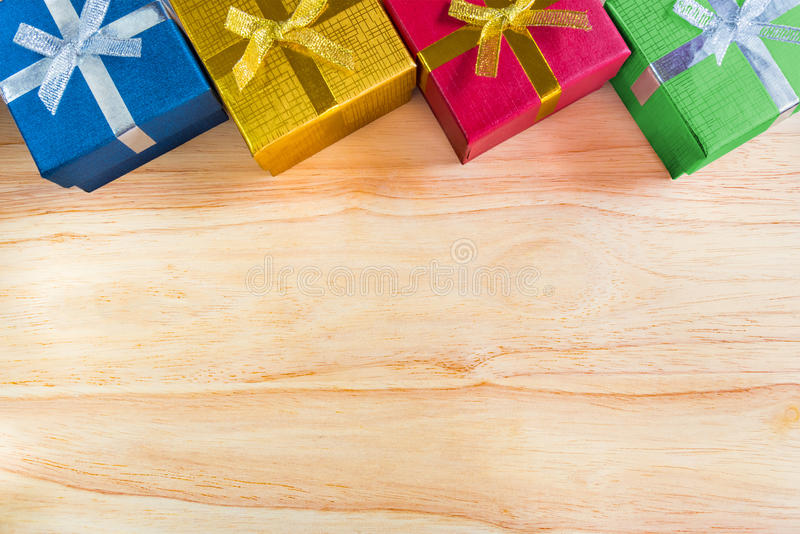 Top view or flat lay of various color christmas&happy new year g. Ift boxes with blank space or copy space, reward, celebrations, holiday presents concept stock photos