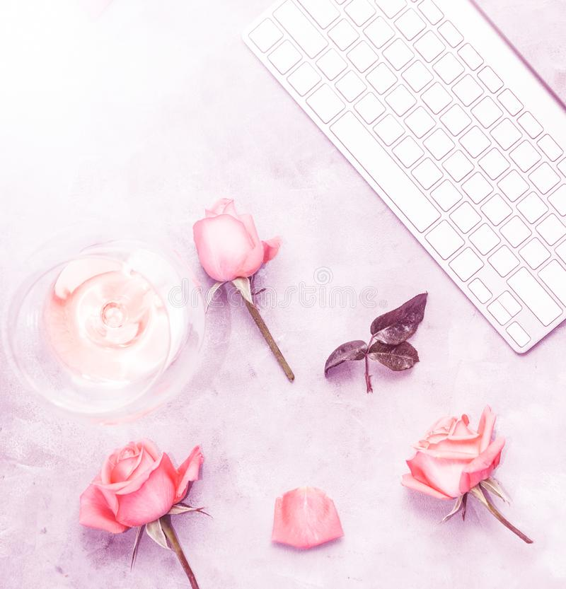 Top view flat lay workplace with rose petals and wine. Romantic background, Text space royalty free illustration