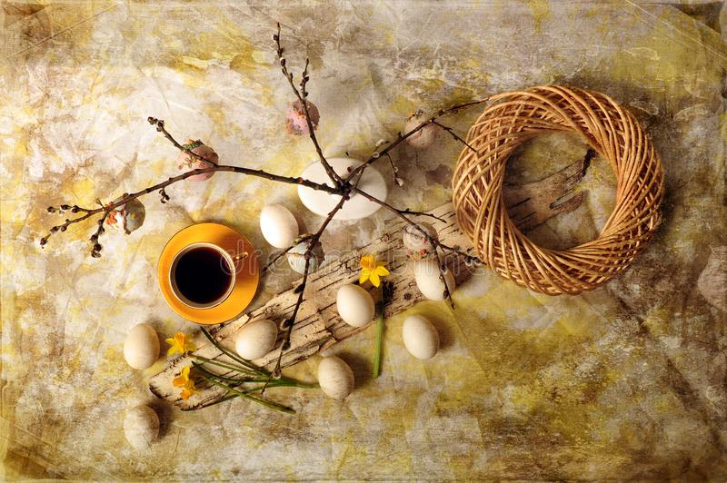 Easter Eggs and Coffee stock photo