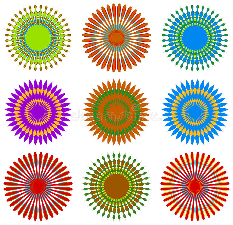 Top view flowers with unreal combination of colors picked from t. He hippie era illustrating the psychedelic atmosphere connected with 1960s - Royalty free royalty free illustration