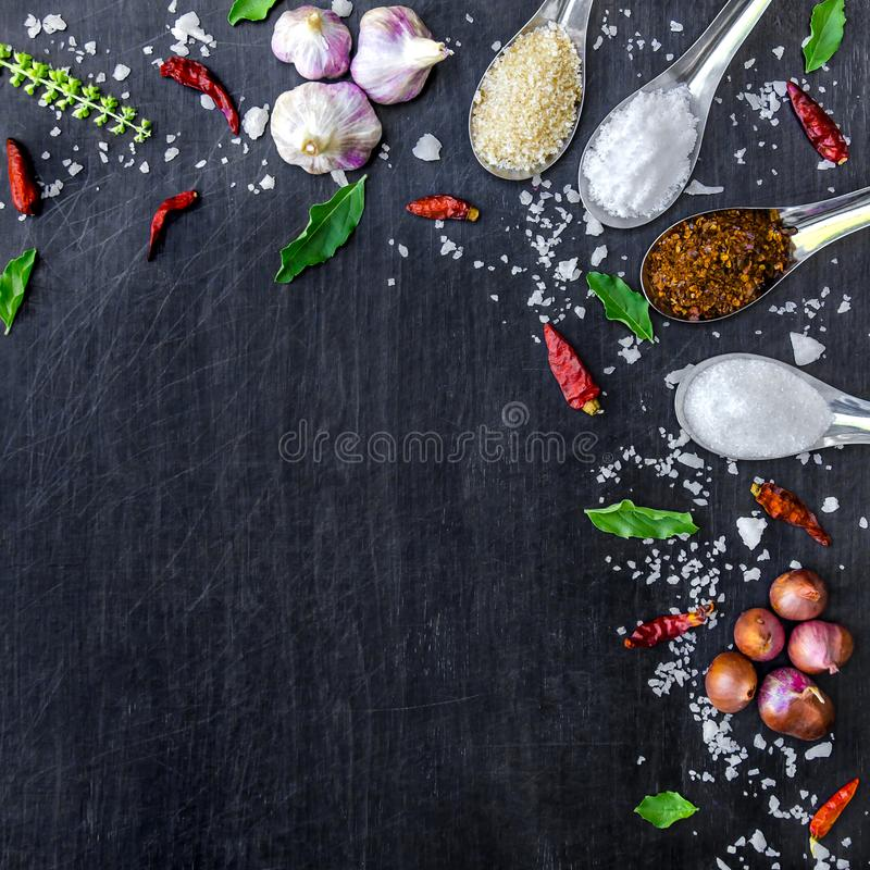 Top view of food ingredients and condiment on the table, Ingredients and seasoning on dark wooden floor. Thai spicy ingredients with chili, garlic, sugar, salt stock image