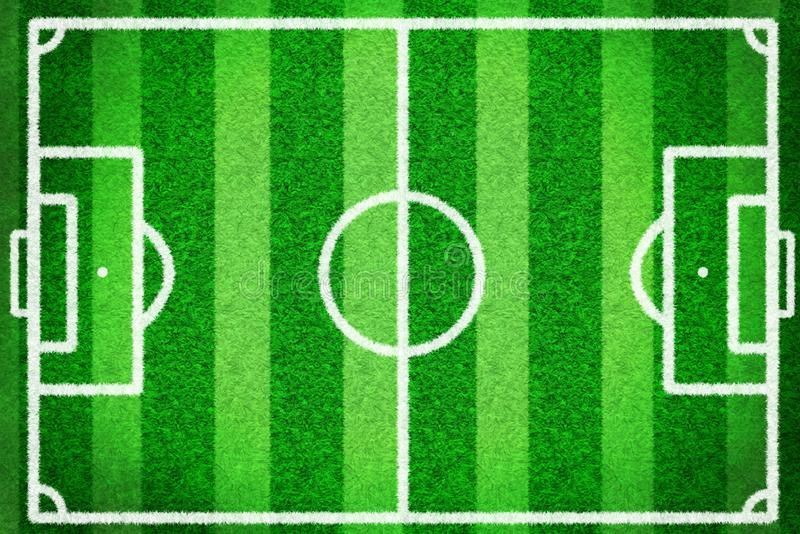 Top view of football field or soccer field with green grass and white line, creative illustration use as a sport background. 3D desigh by graphic. using brush stock illustration