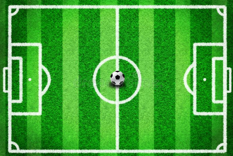 Top view of football field or soccer field and green grass stripes with white line, has football on the center of the field. Top view of football field or vector illustration