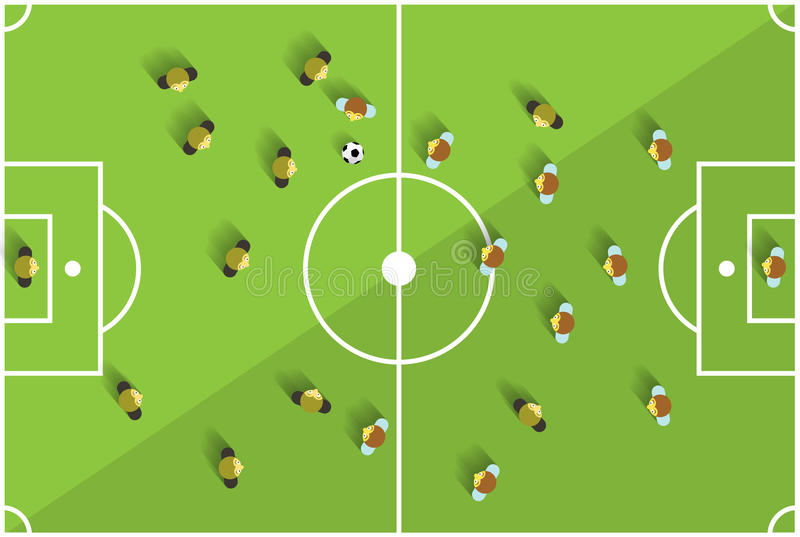 top view football playground with players stock vector