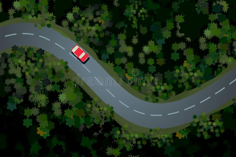 Top view of a forest road with car. Rural highway, beautiful landscape. Holidays travel vector cartoon illustration. royalty free illustration