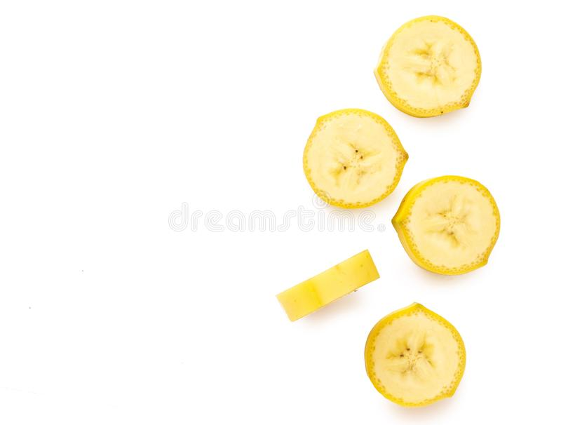 Top view fresh banana slice isolated on white background royalty free stock image