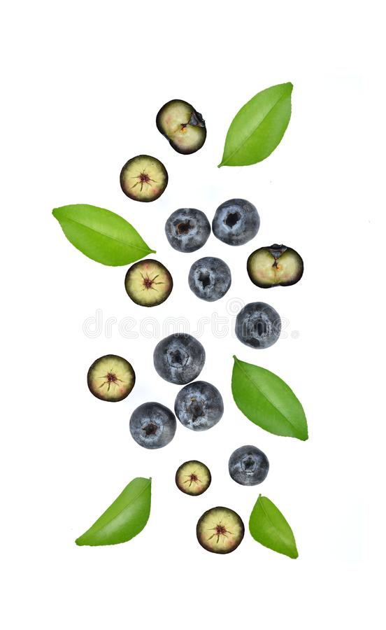 Top view of Fresh blueberry isolated on white background stock images