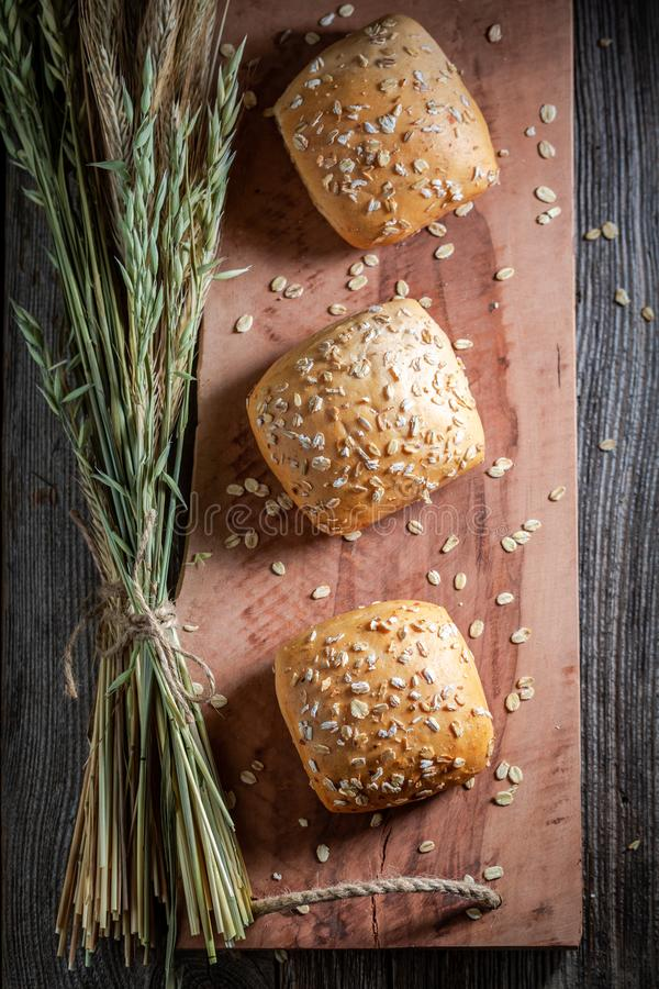 Top view of fresh buns made of oat flakes stock photo