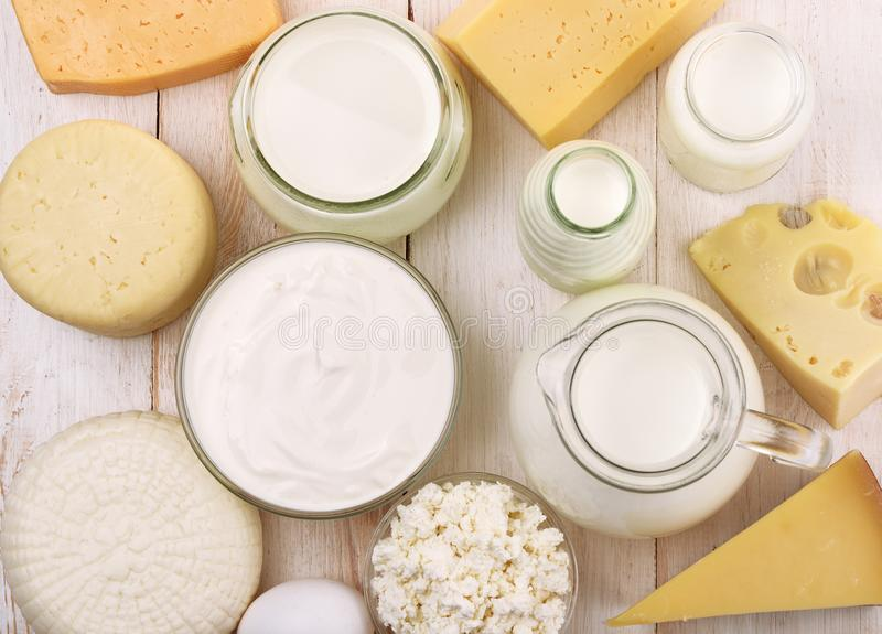 Top view of fresh dairy products royalty free stock images
