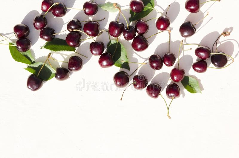 Top view of fresh just picked cherries with green leaves on the white background royalty free stock image