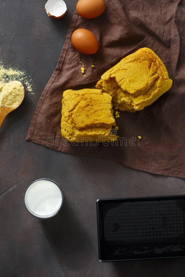 Top view fresh loaf homemade corn bread dark background royalty free stock image