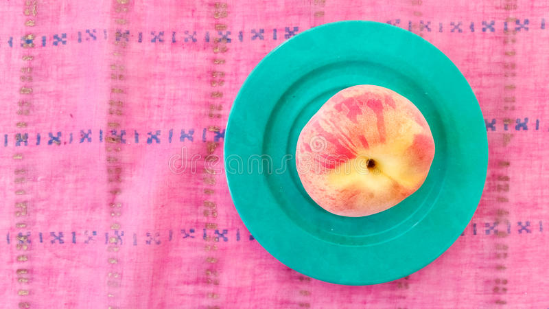 Top View of Fresh Peach. On a Table royalty free stock image
