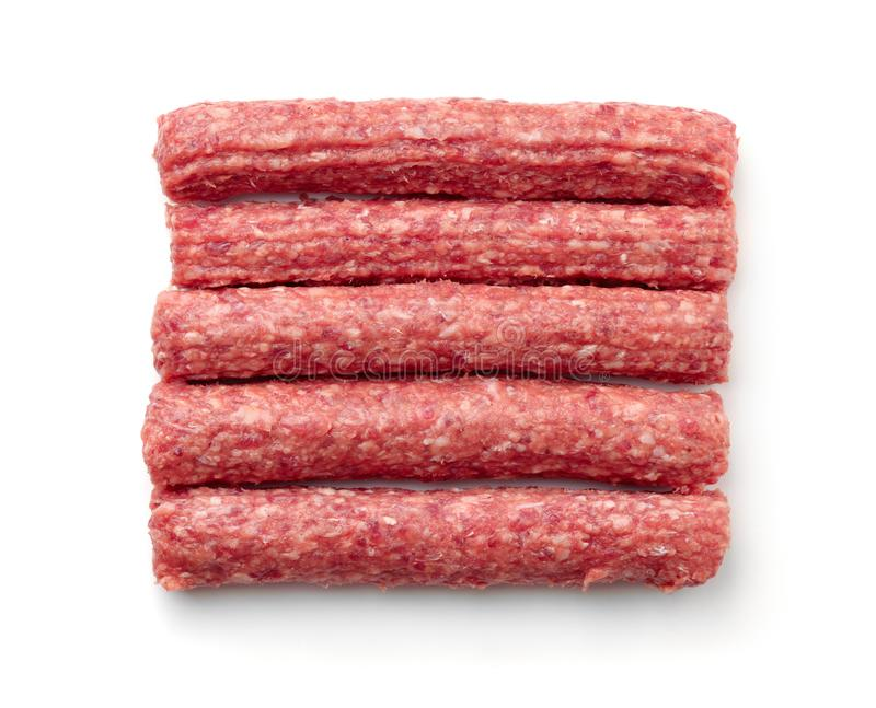 Top view of fresh raw beef kebabs stock image