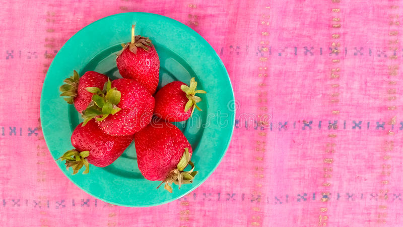 Top View of Fresh Strawberries. In a Plate royalty free stock images