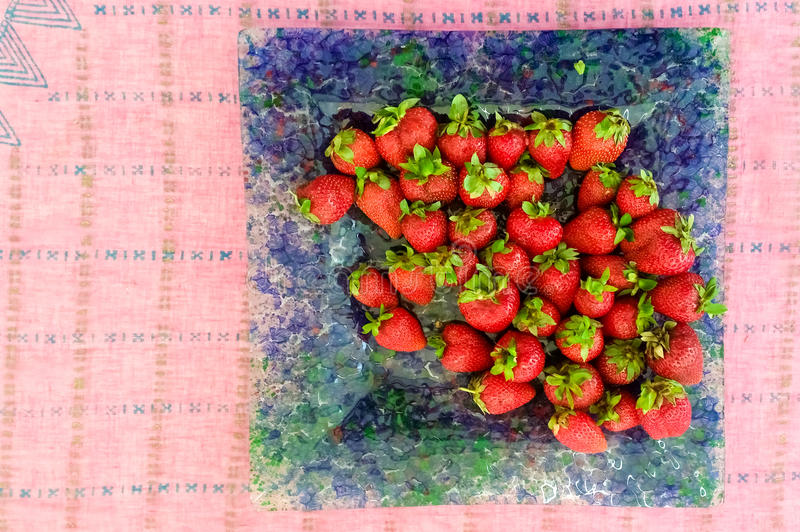 Top View of Fresh Strawberries. Served in a Plate stock photos