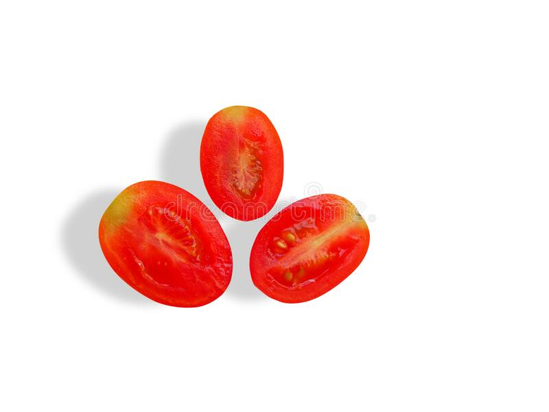 Top view of fresh tomato cut in half isolated on white background. Top view of fresh tomato cut in half isolated on white background with clipping path royalty free stock photography